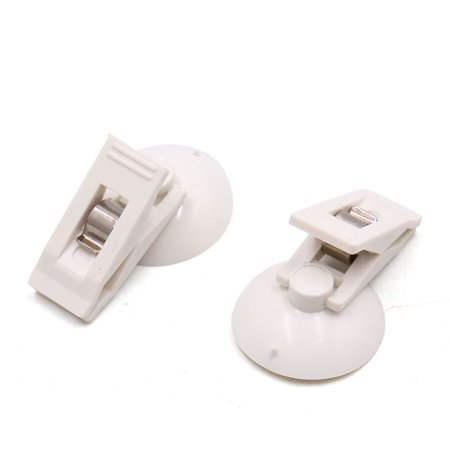2Pcs White Plastic Suction Cup Windshield Curtain Card Photo Clip for (Suction Cup Clip)