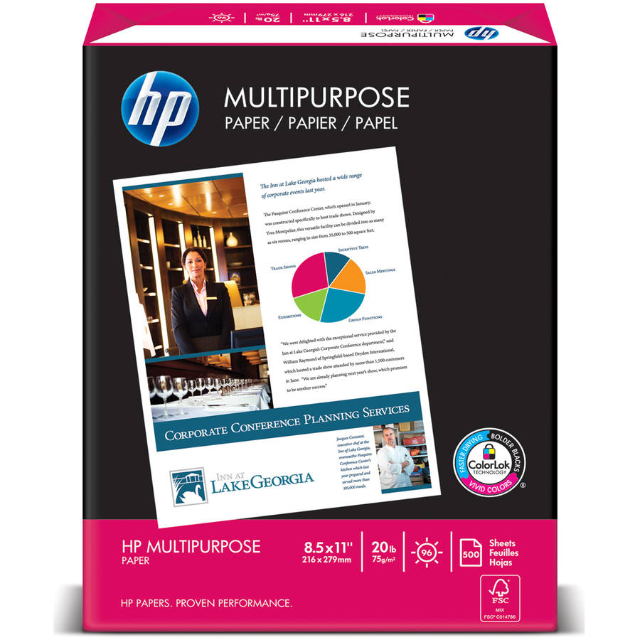 "HP Multipurpose Paper, 96"" Bright, 20 lb, Letter, White, 2500 Sheets Total, 5 Reams"