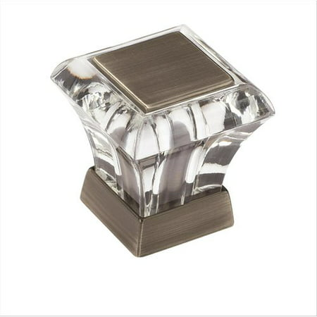 Amerock BP29460CAS Abernathy Collection Square Knob - Acrylic and Antique Silver