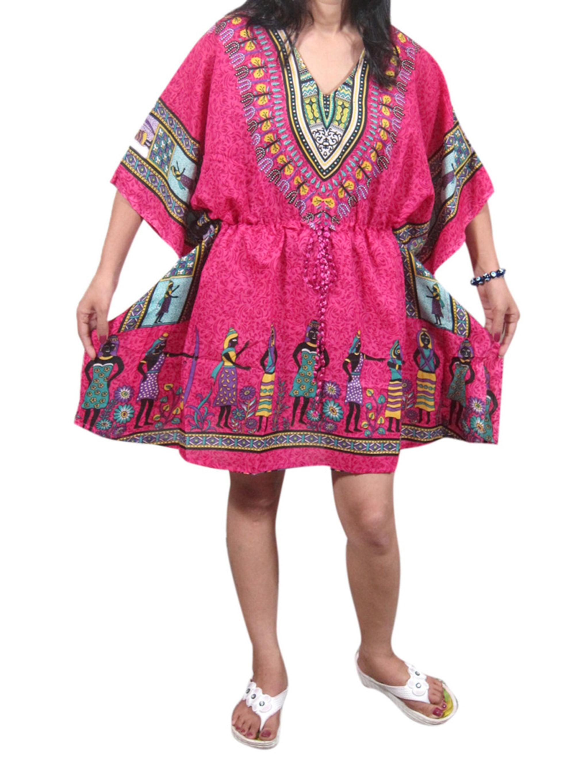 Mogul Women Kaftan Tops Pink Dashiki Beach Cover Up Tunic Caftan
