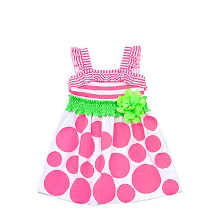 Neon Pink Stripe and Dot Knit Dress  18 months - Neon Glow In The Dark Dresses