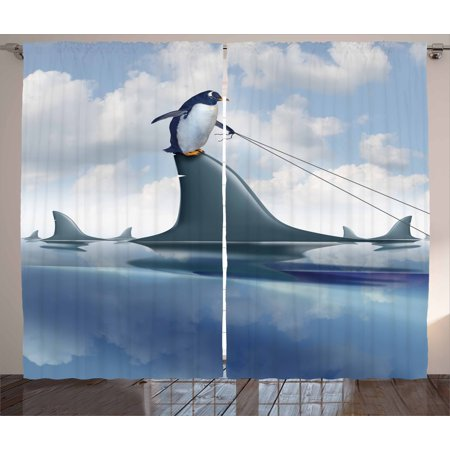 Shark Curtains 2 Panels Set, Fear Management Leadership Concept with ...