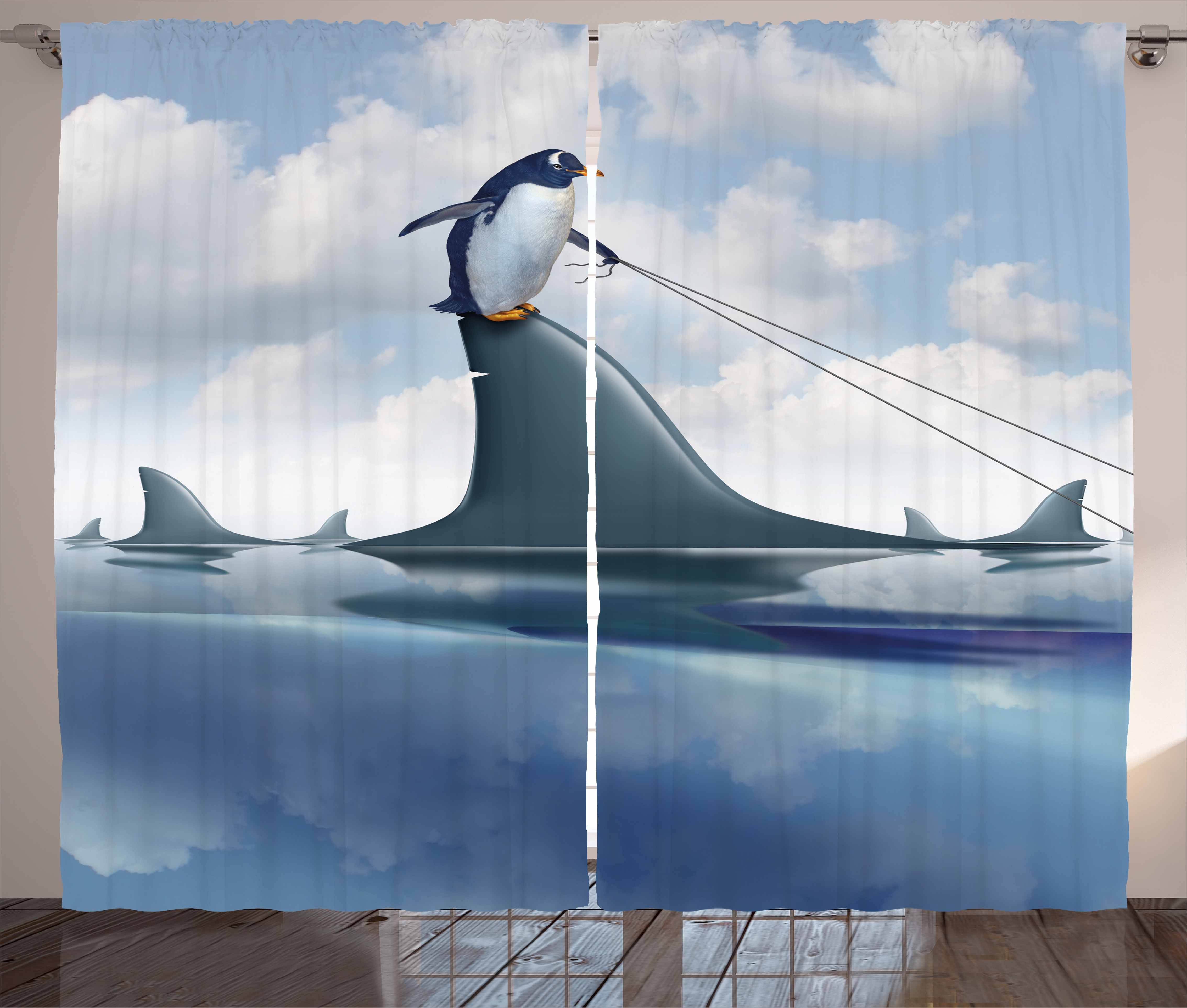 Shark Curtains 2 Panels Set, Fear Management Leadership Concept With A  Penguin Holding Shark Humor