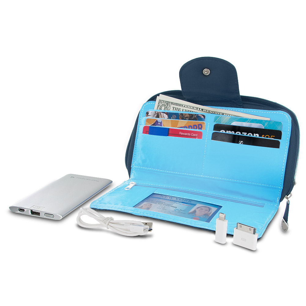 Travelon RFID Blocking Clutch Wallet With 5000mAh Power Bank - Navy