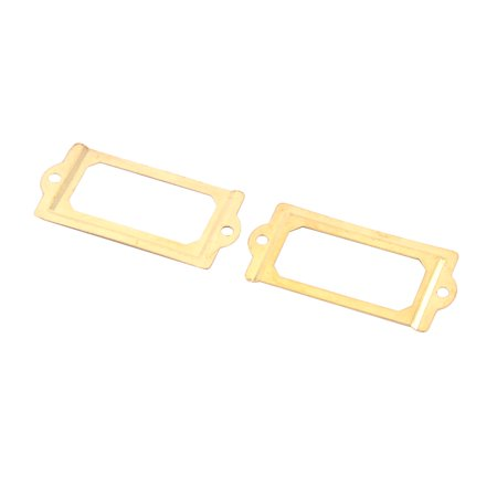 Post Office File Drawer Card Holder Tag Label Frame Gold Tone 70 X 33Mm 2Pcs