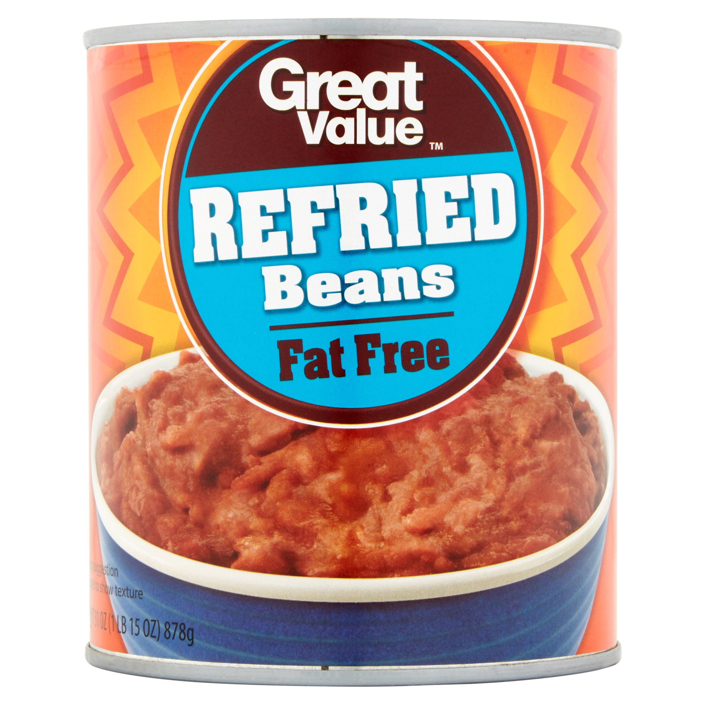 Great Value Fat Free Refried Beans, 31 oz