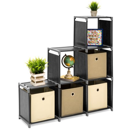 Best Choice Products 6-Drawer Multi-Purpose Shelving Cubby Storage Cabinet, Black ()