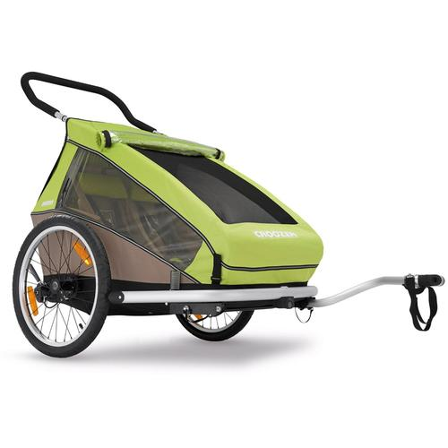 Croozer Kid For 2  Bicycle Trailer Meadow Green   Sand Grey