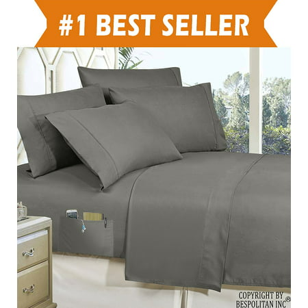 California King Deep Fitted Sheet - Elegant Comfort 4-Piece KING- Smart Sheet Set! Luxury Soft 1500 Thread Count Egyptian Quality Wrinkle and Fade Resistant with Side Storage Pockets on Fitted Sheet, King, Grey