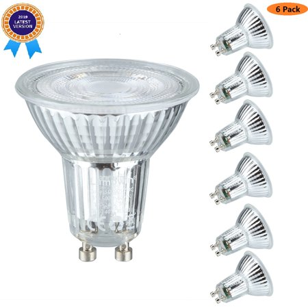(Pack Of 6)GU10 5Watt Non Dimmable LED Light Bulb Equivalent 50 Watt Halogen Bulbs,500 Lumen 6000K Natrual White MR16 PC Cover GU10 Base LED GU10 Quart Glass