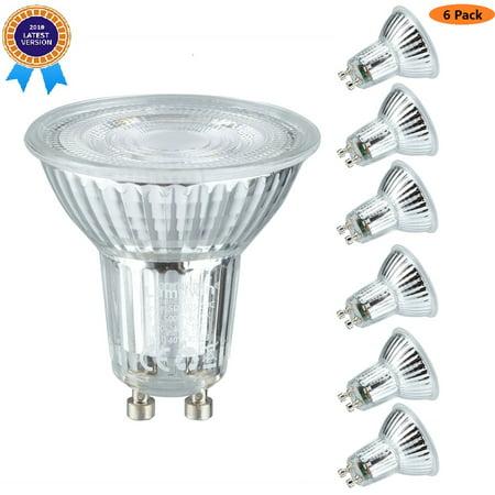 (Pack Of 6)GU10 5Watt Non Dimmable LED Light Bulb Equivalent 50 Watt Halogen Bulbs,500 Lumen 6000K Natrual White MR16 PC Cover GU10 Base LED GU10 Quart Glass Spotlight (Gu10 Halogen Spotlight)