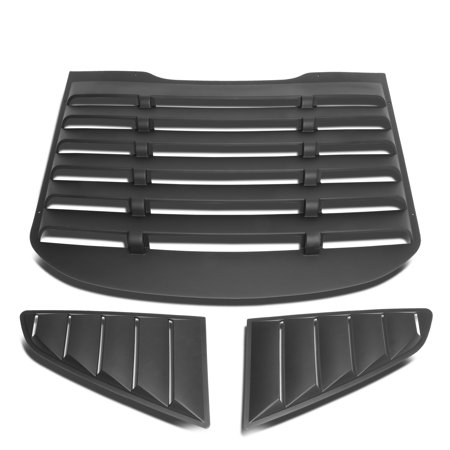 Black Louvre Kit (For 2015 to 2018 Ford Mustang Coupe 3Pcs Vintage Style Rear + L / R Quarter Side Window Louvers )
