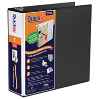 "Stride® QuickFit® Round-Ring View Binder, 3"" Rings, 600-Sheet Capacity, Black"