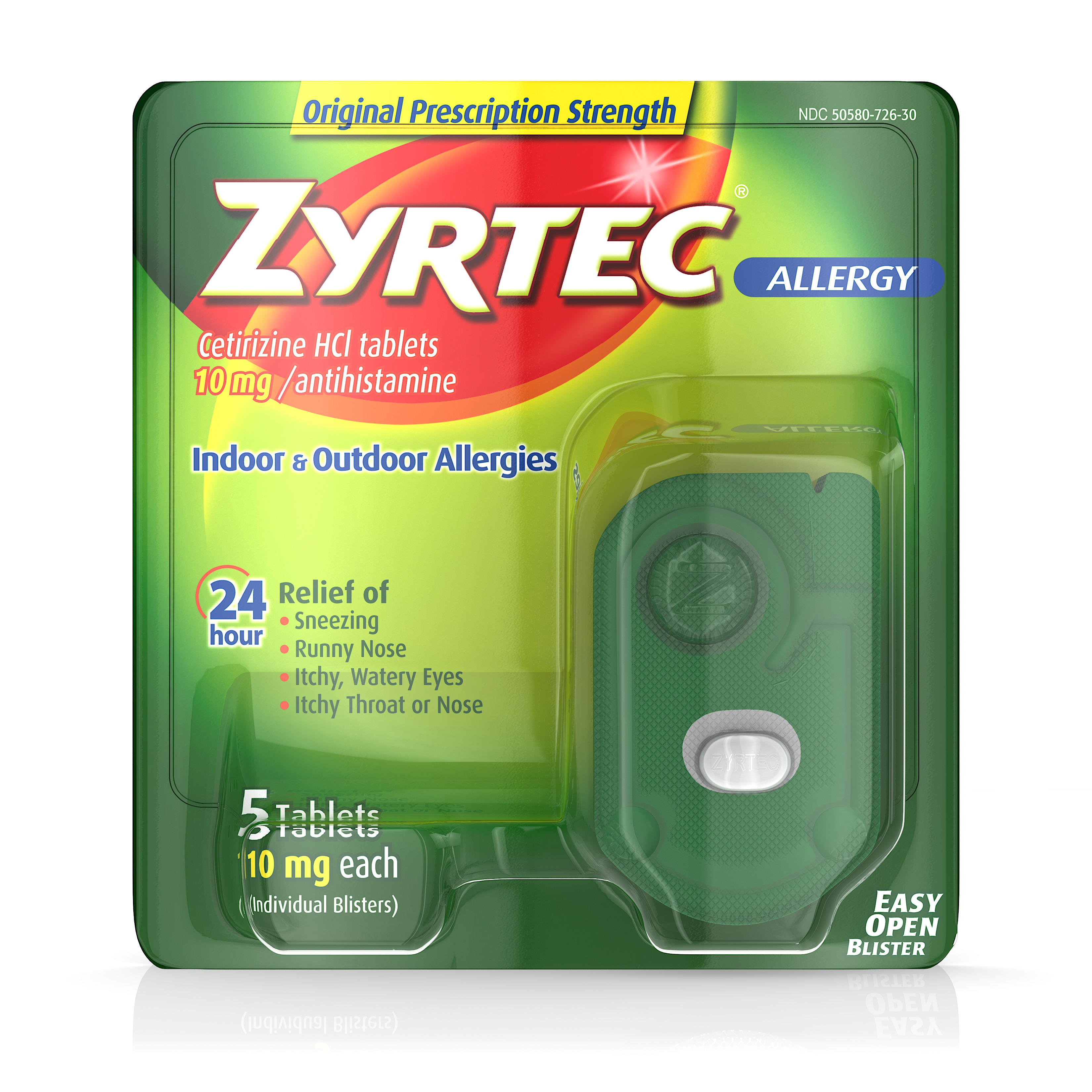 Zyrtec Prescription-Strength Allergy Medicine Tablets With Cetirizine, 5 Count, 10 mg, Travel Size