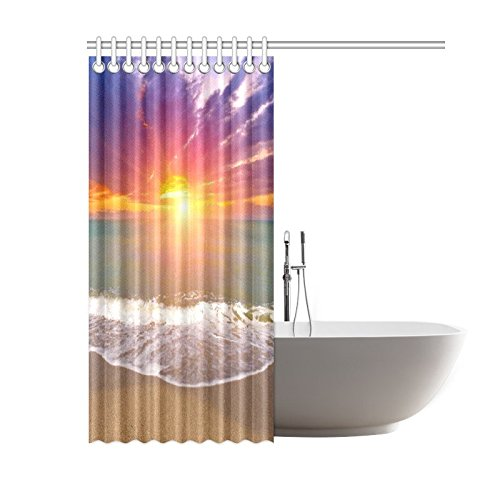 GCKG Island Seascape Sunset Over Sea Shower Curtain, Summer Tropical Beach Ocean Wave Polyester Fabric Shower Curtain Bathroom Sets 60x72 Inches - image 2 of 3