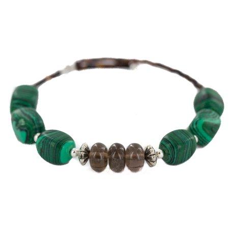 Certified Authentic Navajo Heishi Malachite Smoky Quartz Native American Adjustable Wrap Bracelet