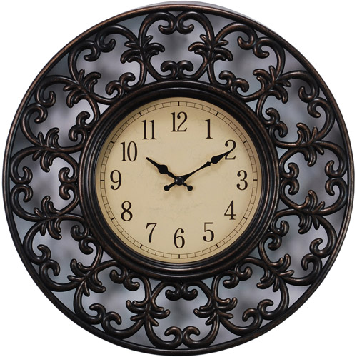 Generic Kiera Grace Decorative Lattice Design 11 Wall Clock with Antique Bronze Finish