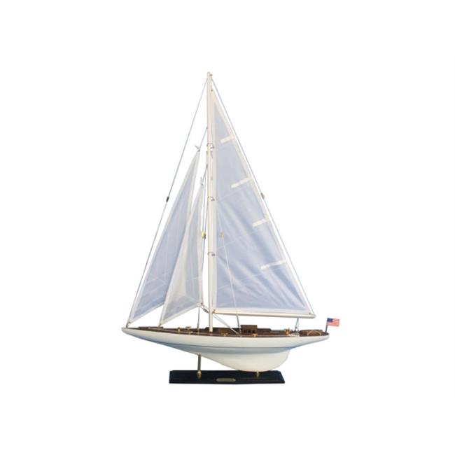 Handcrafted Model Ships INT-R-35 Wooden Intrepid Model Sailboat Decoration 35 in. by Handcrafted Model Ships