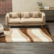 Mecor Collection Area Rug Cozy Solid Flokati Shaggy Carpet Multicolor for Living Room/Bedroom Floor(3'x5'),Ivory Waves