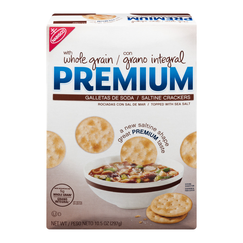 Premium Saltine Crackers with Whole Grain, 10.5 OZ