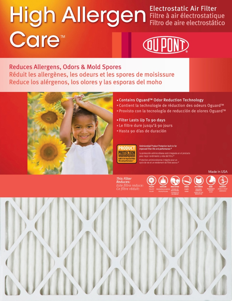 20x25x1 Dupont High Allergen Care MERV 11 Air Filters (2 Pack) by DuPont