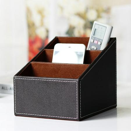 Mosunx Leather Phone/TV Remote Control Storage Box Home Desk Organizer Holder