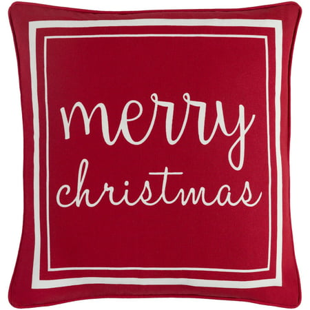 "18"" Red and White ""merry christmas"" Printed Square Throw Pillow - Down Filler"