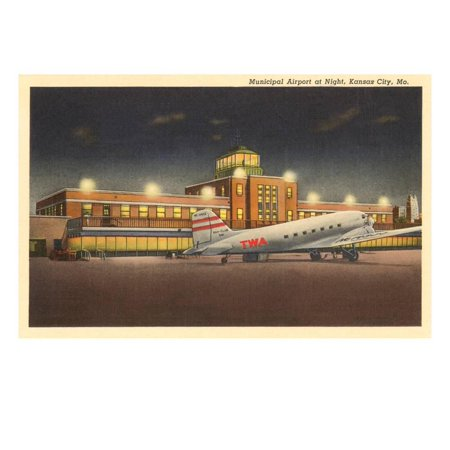 Night, Municipal Airport, Kansas City, Missouri Print Wall Art - Party City Kansas City Missouri