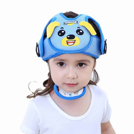 Baby Safety Helmet Protective Helmet, Infant Toddler Head Protection Soft Hat Cap for Children Head Cap Walking Assistant-Blue Dog