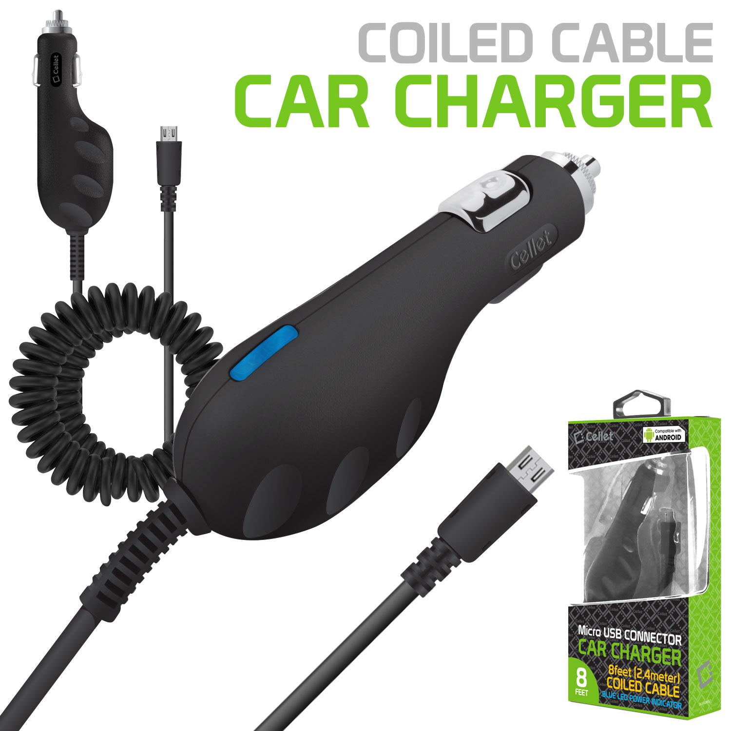 Cellet microUSB Vehicle Car Super Charger for Most Recent Android Phones
