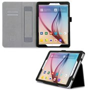 Samsung Galaxy Tab S2 9.7 Case, DigitalsOnDemand Black Leather Folio Cover Case Stand for Galaxy Tab S2 Tablet (9.7 inch, SM-T810 T815 T813) - Card Holders, Wallet Pouch, Hand Held Interior Strap