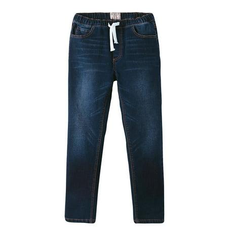 Regular Blue Denim (Leo&Lily Boys' Kids' Elastic Waist Regular Fit Stretch Denim Jeans-)
