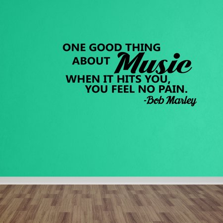 Wall Decal Quote One Good Thing About Music Bob Marley Wall Sticker Decor DP476 - Qoutes About Halloween