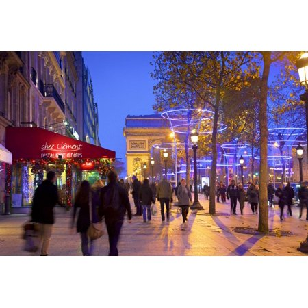 Xmas Decorations on Avenue Des Champs-Elysees with Arc De Triomphe in Background, Paris, France Print Wall Art By Neil Farrin](Decorations In French)