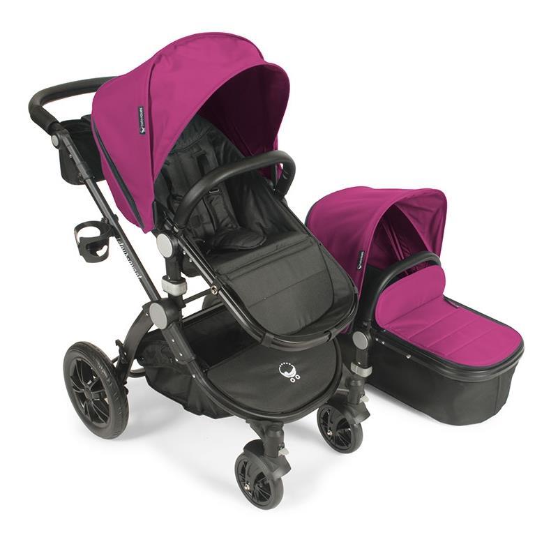 Babyroues letour avant stroller w/bassinet black frame pink fabric