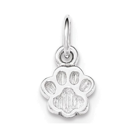 Outline Sterling Silver Charm - Sterling Silver Polished and Textured Paw Print Charm
