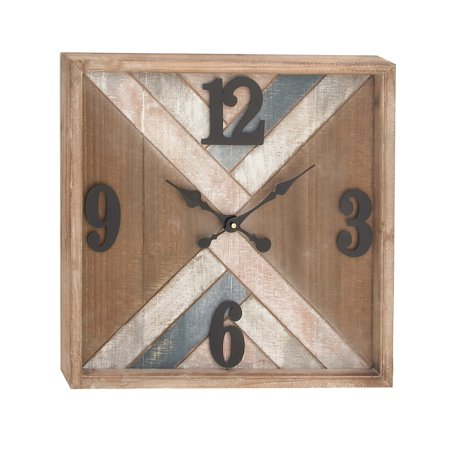 Decmode Distressed 19 X 19 Inch Metal And Wood Chevron Wall Clock, Brown