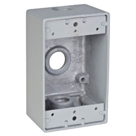 Red Dot IH3-1-LM Device Outlet Box, 1 Gang, 3 Hub, 2-13/16-Inch Width by 2-Inch Depth by 4-9/16-Inch Height, Silver Outlet Box Height
