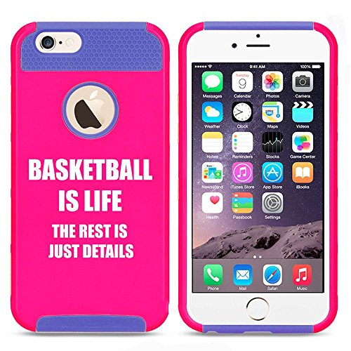 Apple iPhone 5 5s Shockproof Impact Hard Case Cover Basketball Is Life (Hot Pink-Blue),MIP