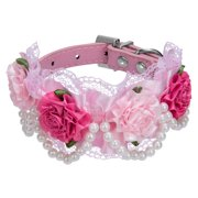 CUECUEPET Embellished Rose Adjustable Dog Collar for Small to Medium Sized Dogs