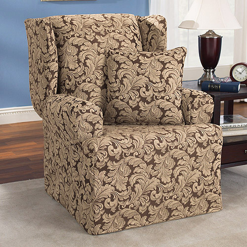 Sure Fit Scroll Brown Wing Chair Slipcover