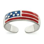Primal Silver Sterling Silver Enameled Flag Toe Ring