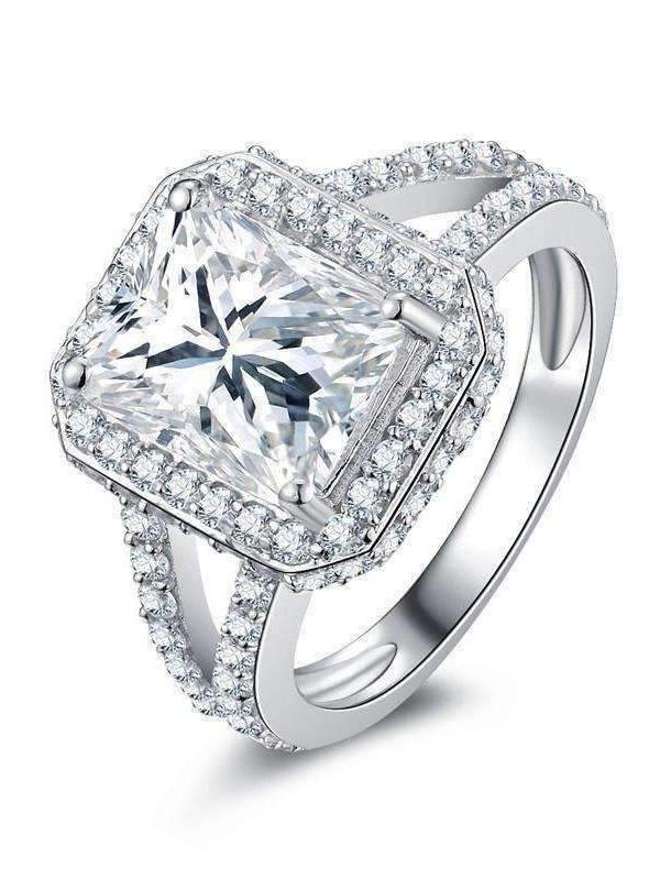 Empress 3CT Emerald Cut Halo Split Shank IOBI Cultured Diamond Ring 4.75   Platinum by Feshionn IOBI
