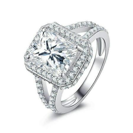 ON SALE - Empress 3CT Emerald Cut Halo Split Shank IOBI Simulated Diamond Ring 4.75 / Platinum