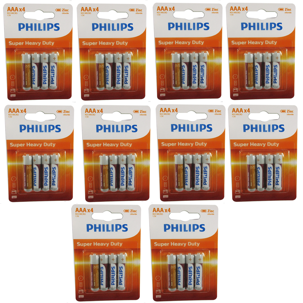 40 Philips R03P AAA 1.5V Super Heavy Duty Battery Carbon-Zinc Triple A Batteries