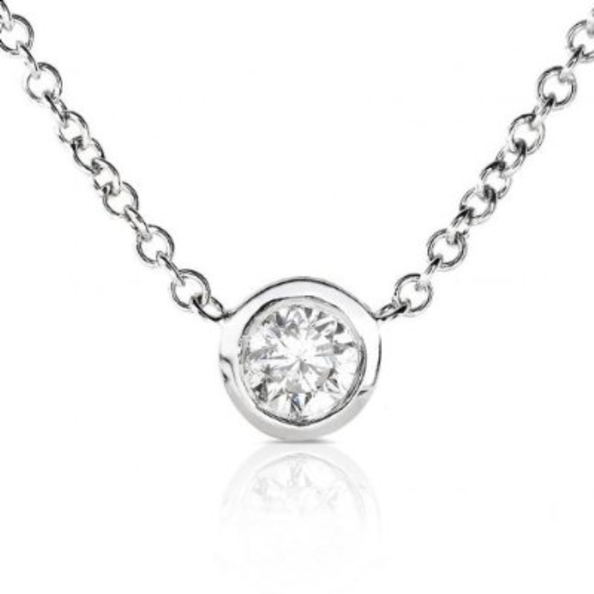 Diamond Solitaire 1 6 Carat Bezel Necklace in Platinum by