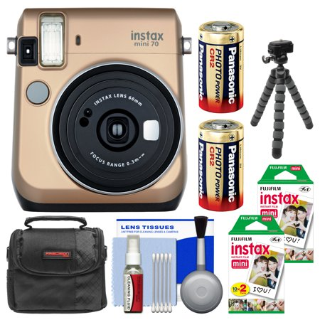 Fujifilm Instax Mini 70 Instant Film Camera (Stardust Gold) with 40 Prints + Case + Batteries + Flex Tripod + Kit