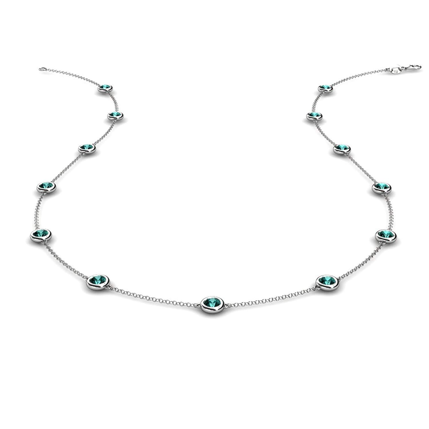 13 Station Blue Diamond on the Cable Necklace 1.30 Carat tw in 14K White Gold.18 Inches in Length by TriJewels