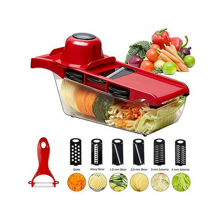 Vegetable Fruit Slicer Cutter Chopper Grater, 6 Interchangeable Stainless Steel Blades with Peeler, Storage Container and Hand Protector Vegetable cutter for Potato, Tomato, Onion, Cucumber,