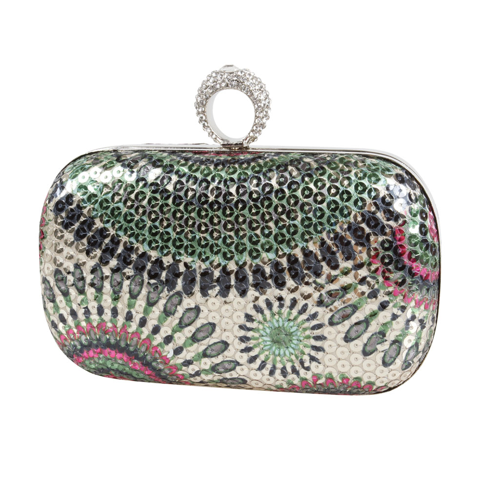 Bmc womens one ring knuckle duster evening clutch sequin design